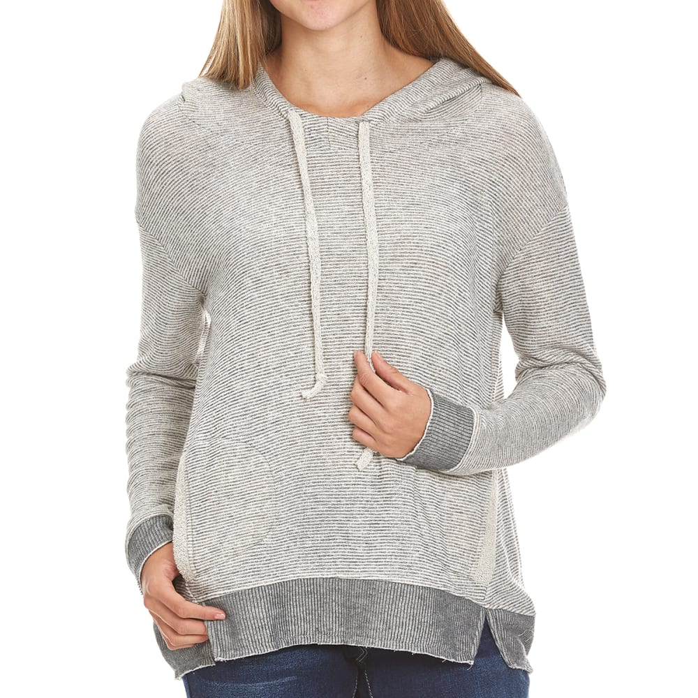 MISS CHIEVOUS Juniors' Double Pocket Stripe Sweater Hoodie - LOOFAH/GREY PEBBLE