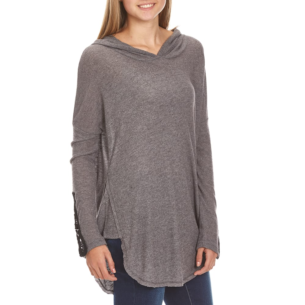 MISS CHIEVOUS Juniors' Brushed Rib Hoodie Contrast Sleeve Tunic - NIGHT SKY
