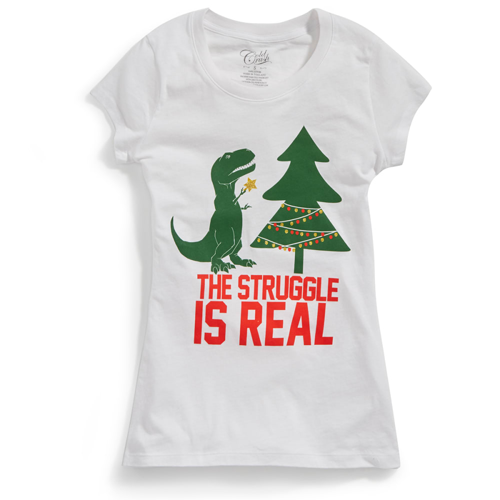 HYBRID Juniors' Christmas The Struggle T-Rex Short-Sleeve Tee - WHITE