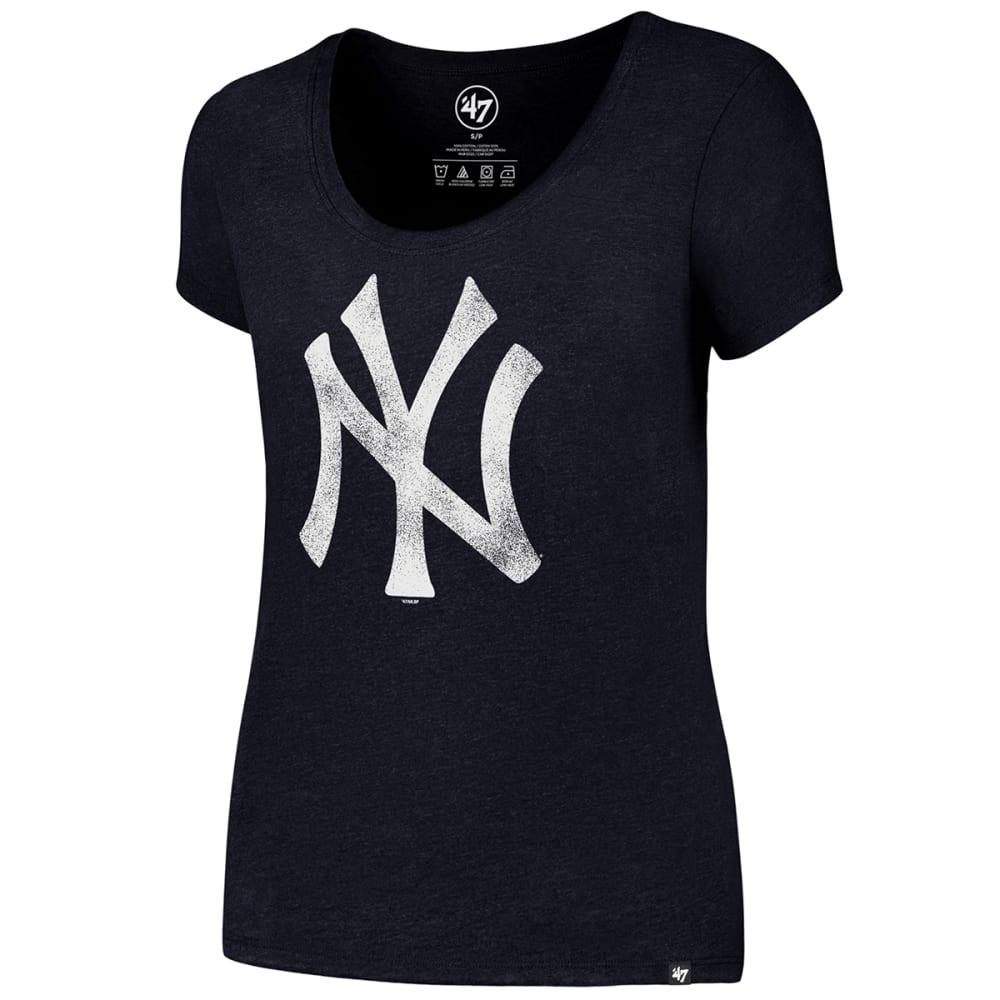 NEW YORK YANKEES Women's Knockaround 47 Club Scoop-Neck Short-Sleeve Tee - NAVY