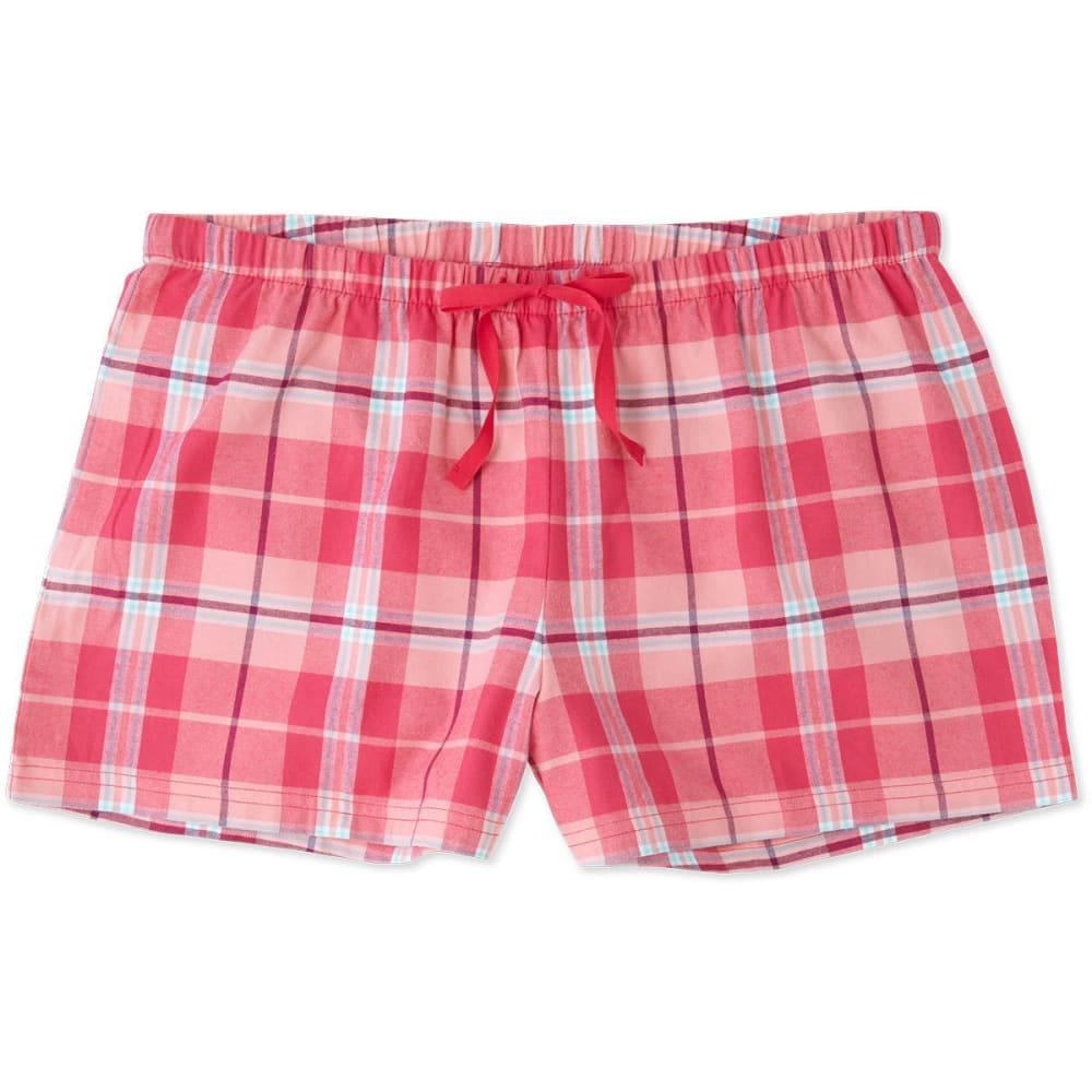 LIFE IS GOOD Women's Pop Pink Plaid Classic Sleep Shorts - PLAID