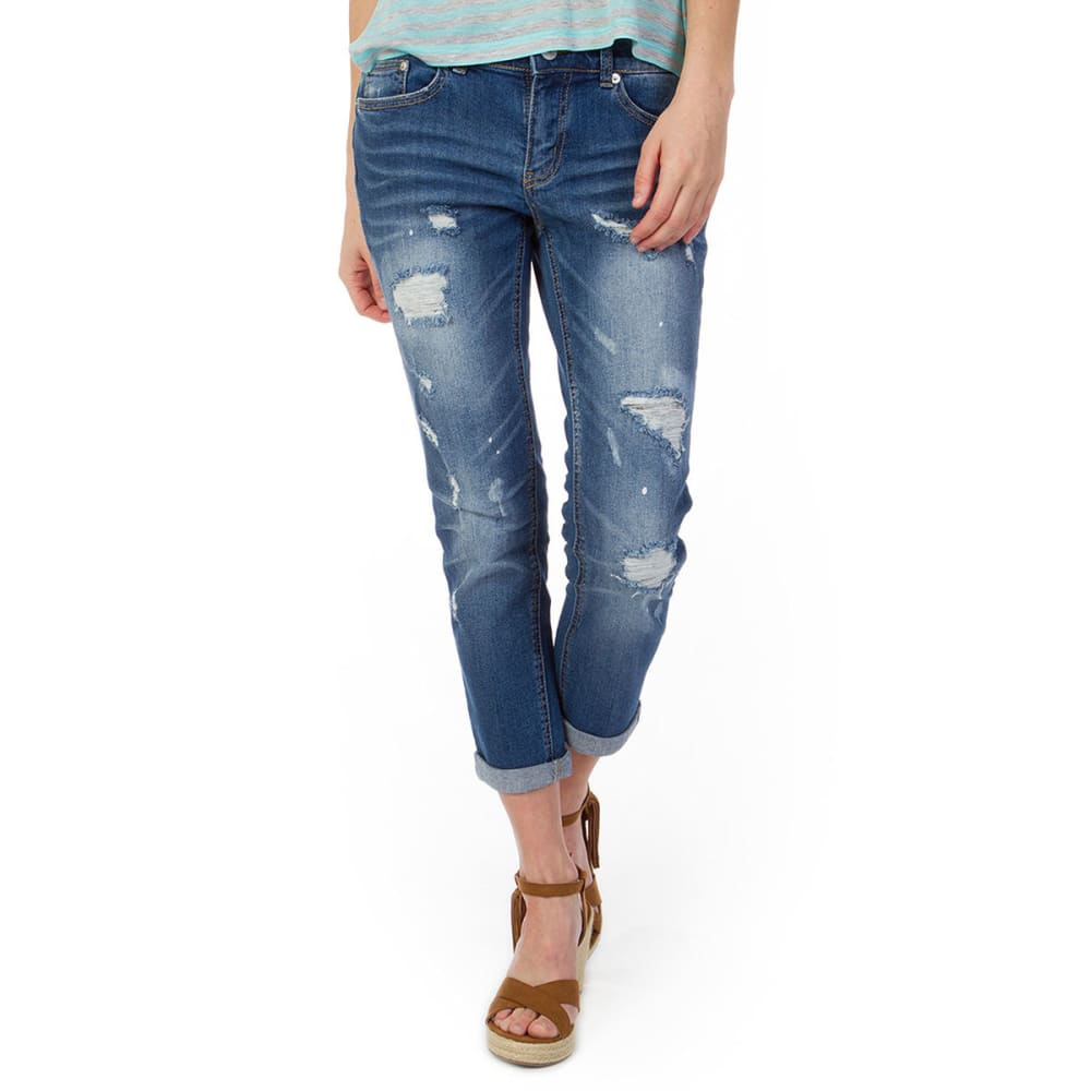 UNIONBAY Juniors' Margot Destructed Vintage Peg Jeans - 454J COVE DENIM