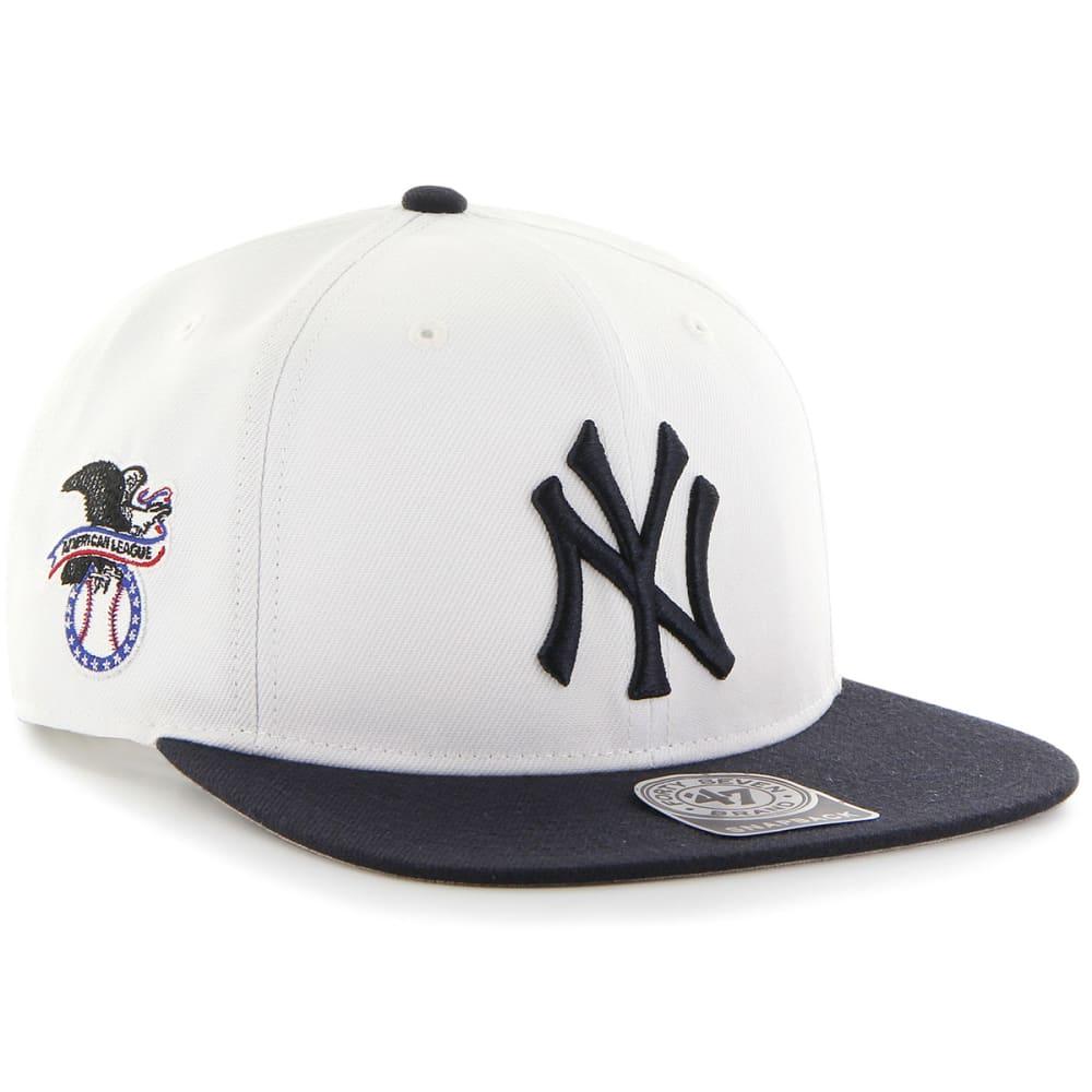 NEW YORK YANKEES Men's '47 Sure Shot Snapback Cap - WHT/NVY
