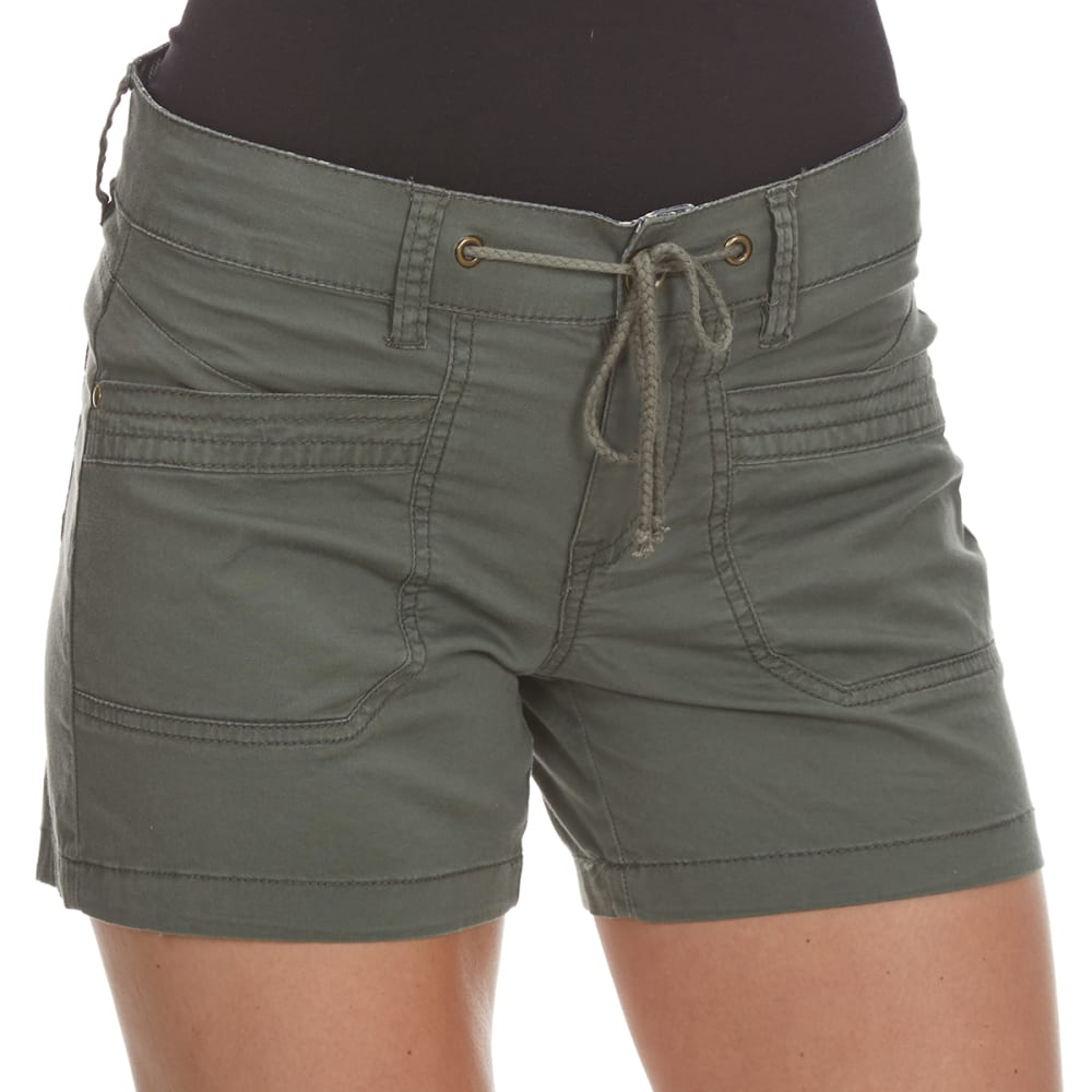 UNIONBAY Juniors' Megan Drawstring Shorts - 339J-FATIGUE GREEN