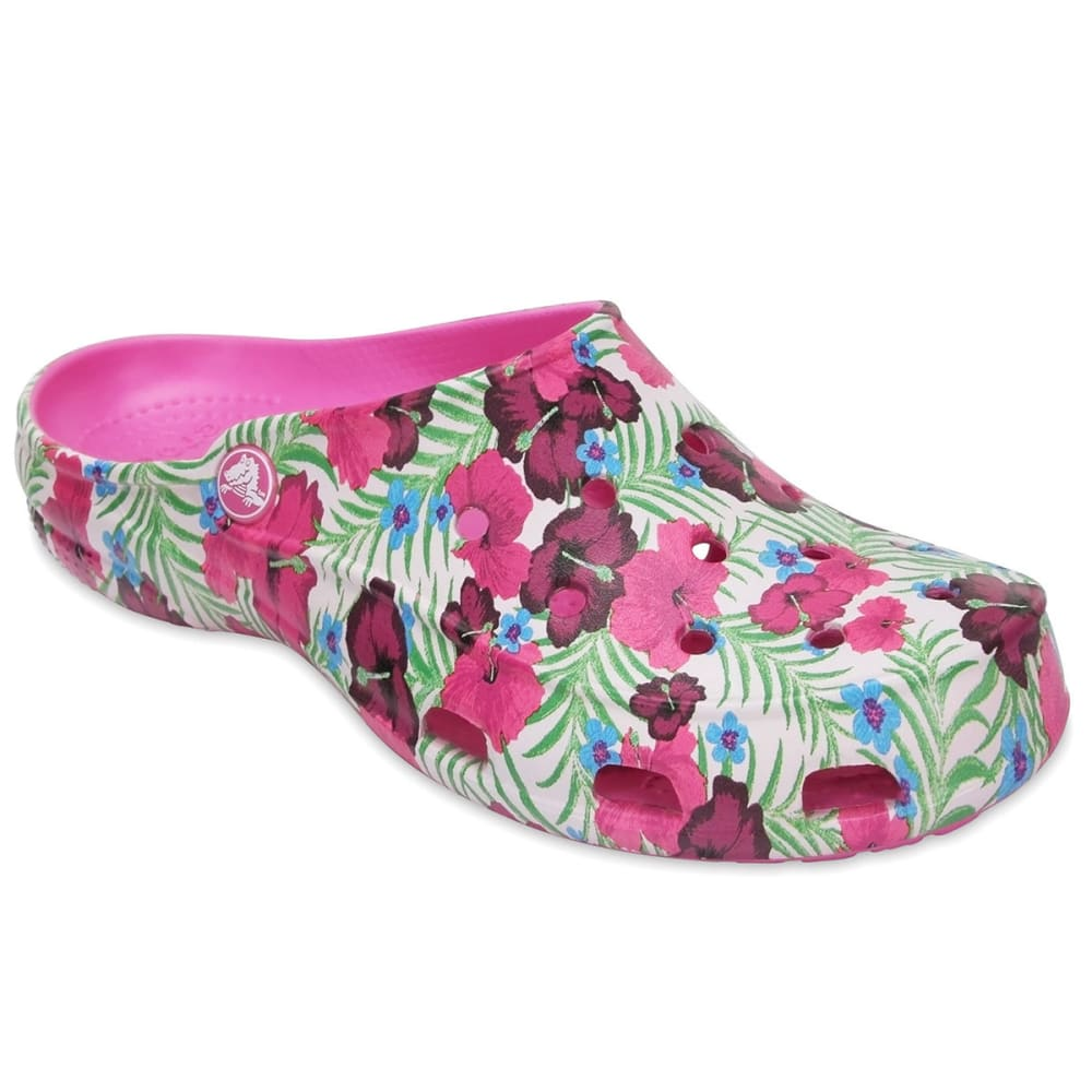 Crocs Women's Freesail Graphic Clogs, Pink Floral - Various Patterns, 5
