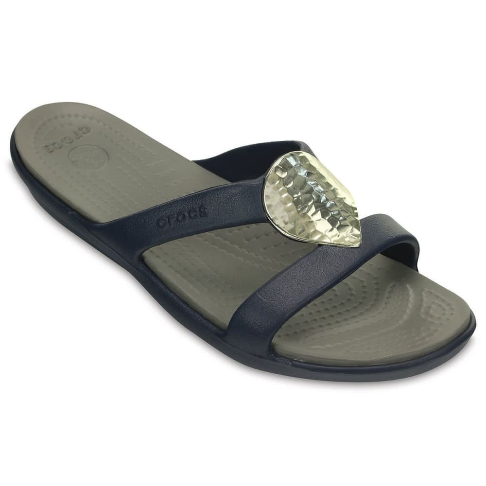 Crocs Women's Sanrah Embellished Sandal, Navy/silver - Blue, 6