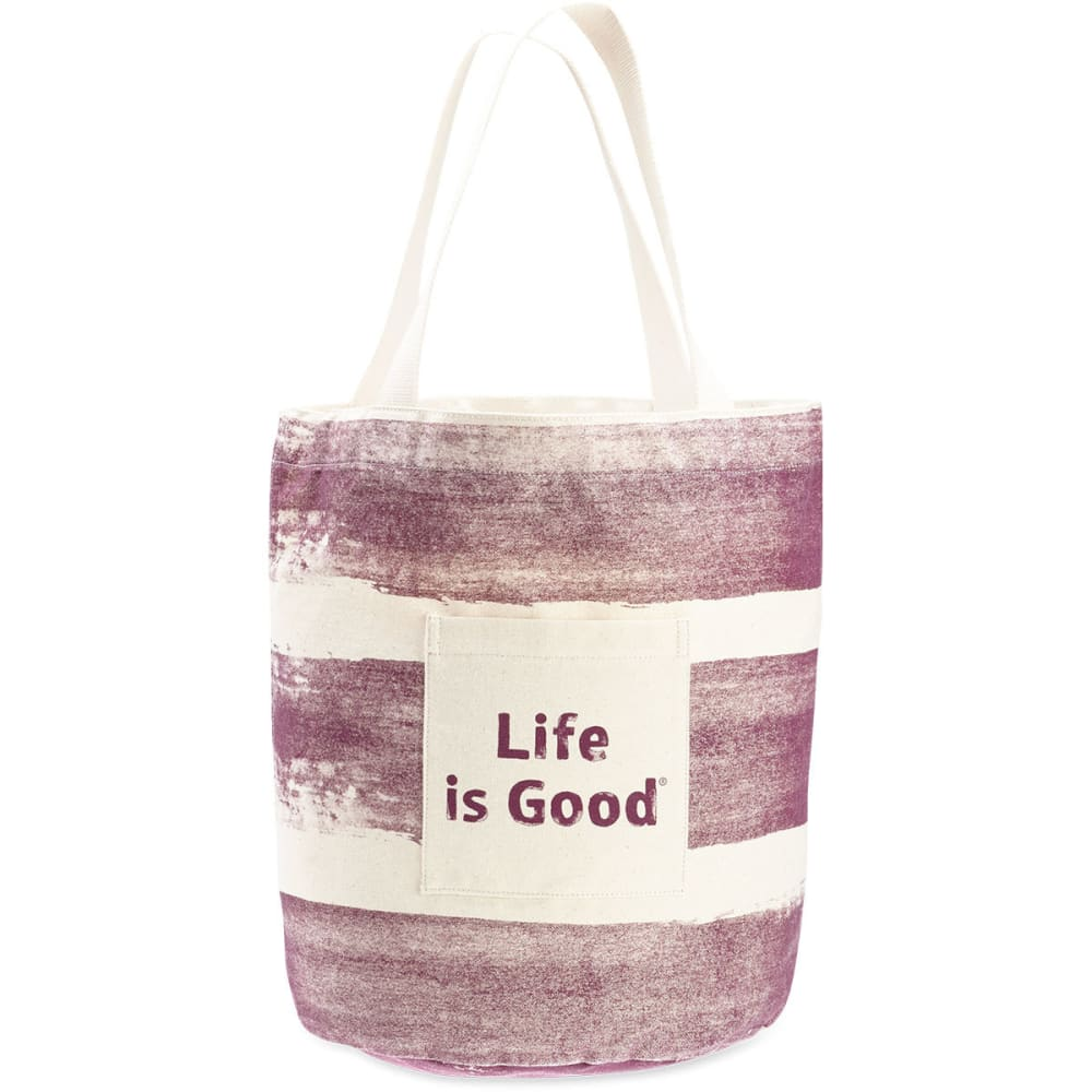 LIFE IS GOOD Women's Stand Tall Beach Tote - DEEP PLUM STRIPE