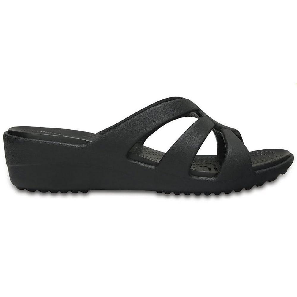 CROCS Women's Sanrah Strappy Wedge Sandals, Black - BLACK