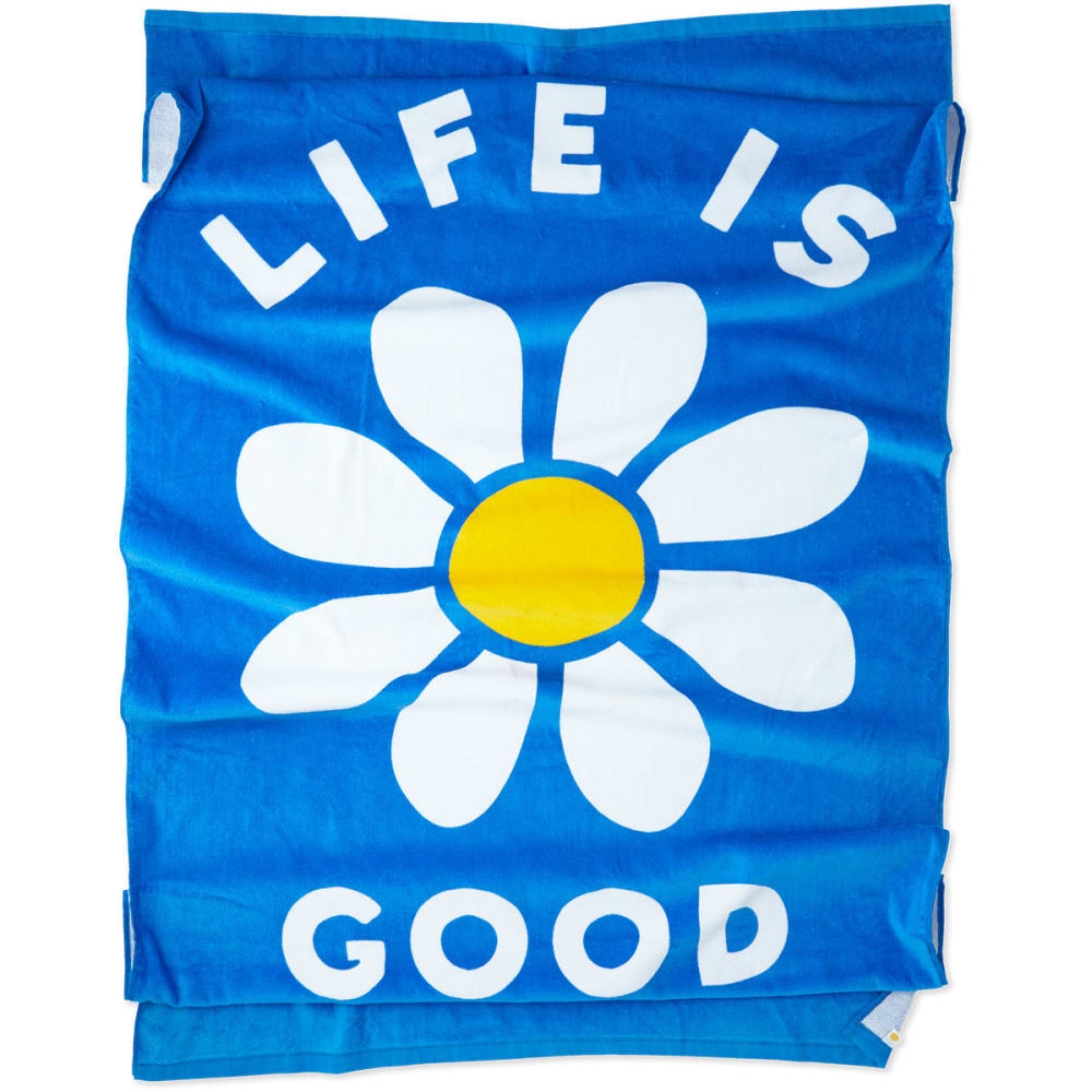 LIFE IS GOOD Daisy Beach Towel - MARINA BLUE