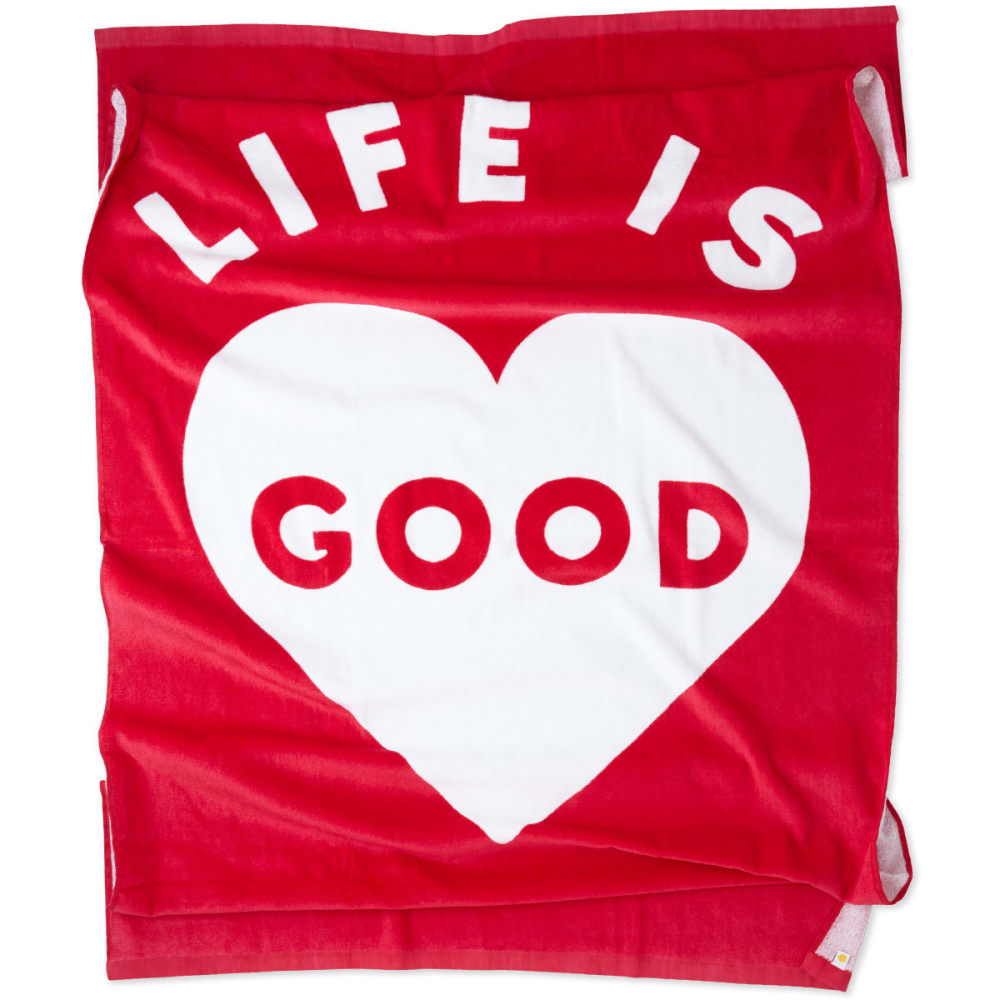 LIFE IS GOOD Heart Beach Towel - POP PINK
