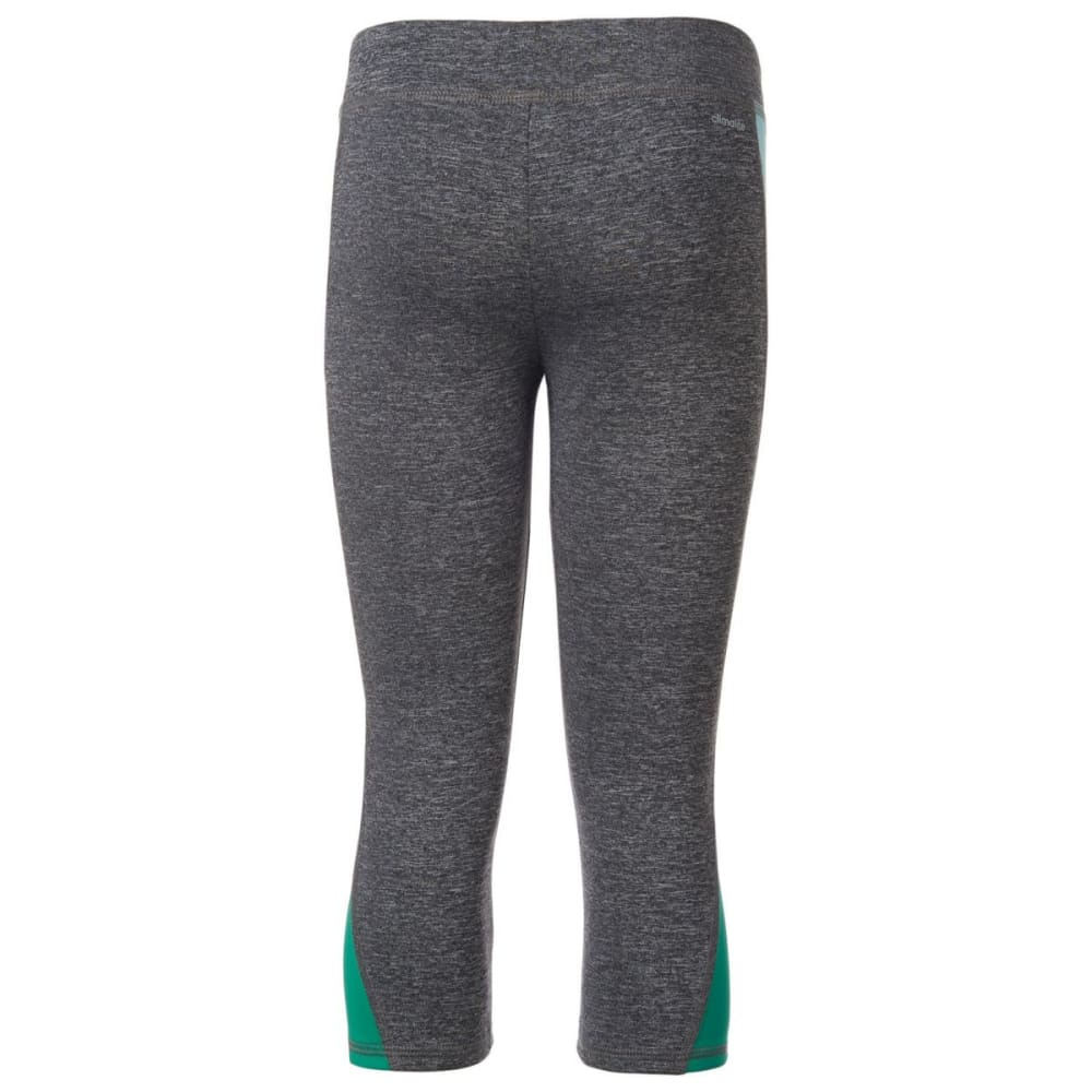 ADIDAS Girls' Color Blocked Capri Tights - TWILIGHT HTR