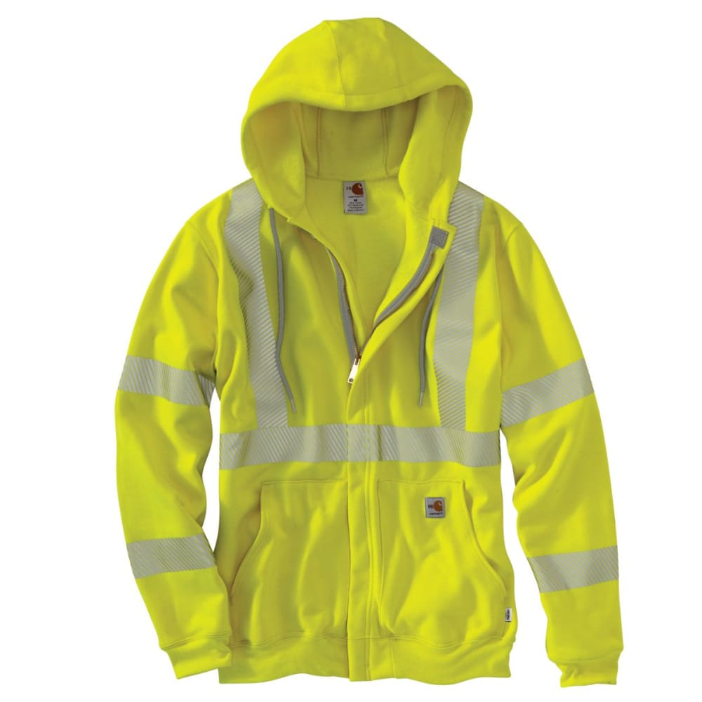 CARHARTT Flame-Resistant Heavyweight High-Visibilty Class 3 Hooded Zip-Front Sweatshirt - BRITE LIME