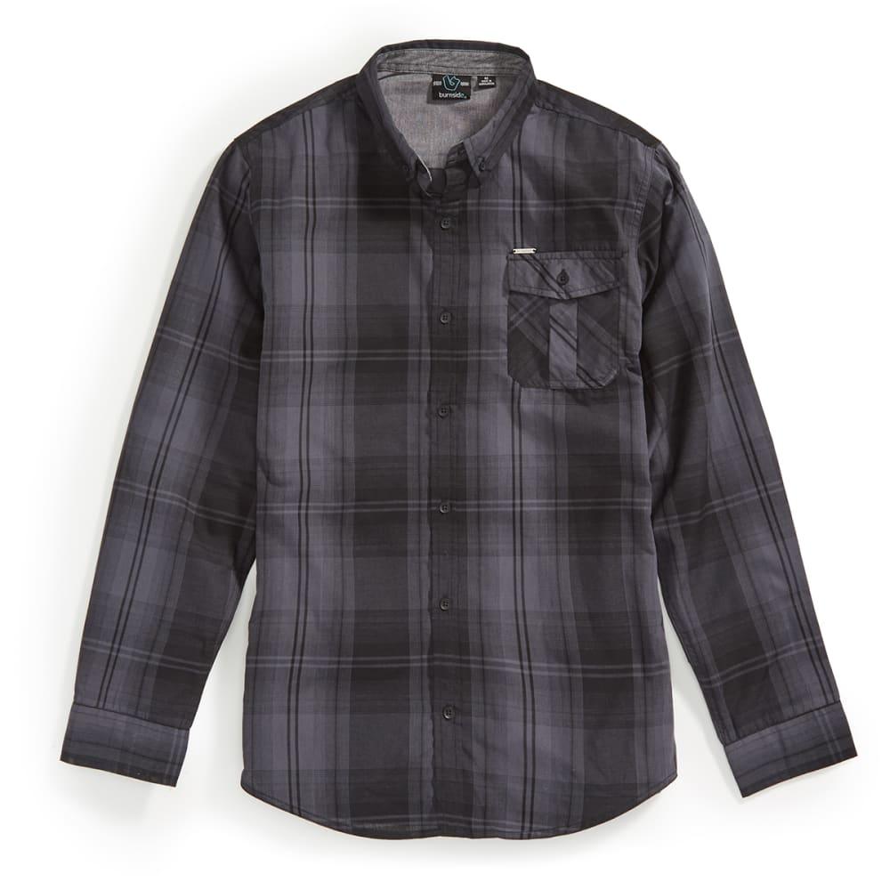 BURNSIDE Men's Simon Long Sleeve Woven Shirt - BLACK