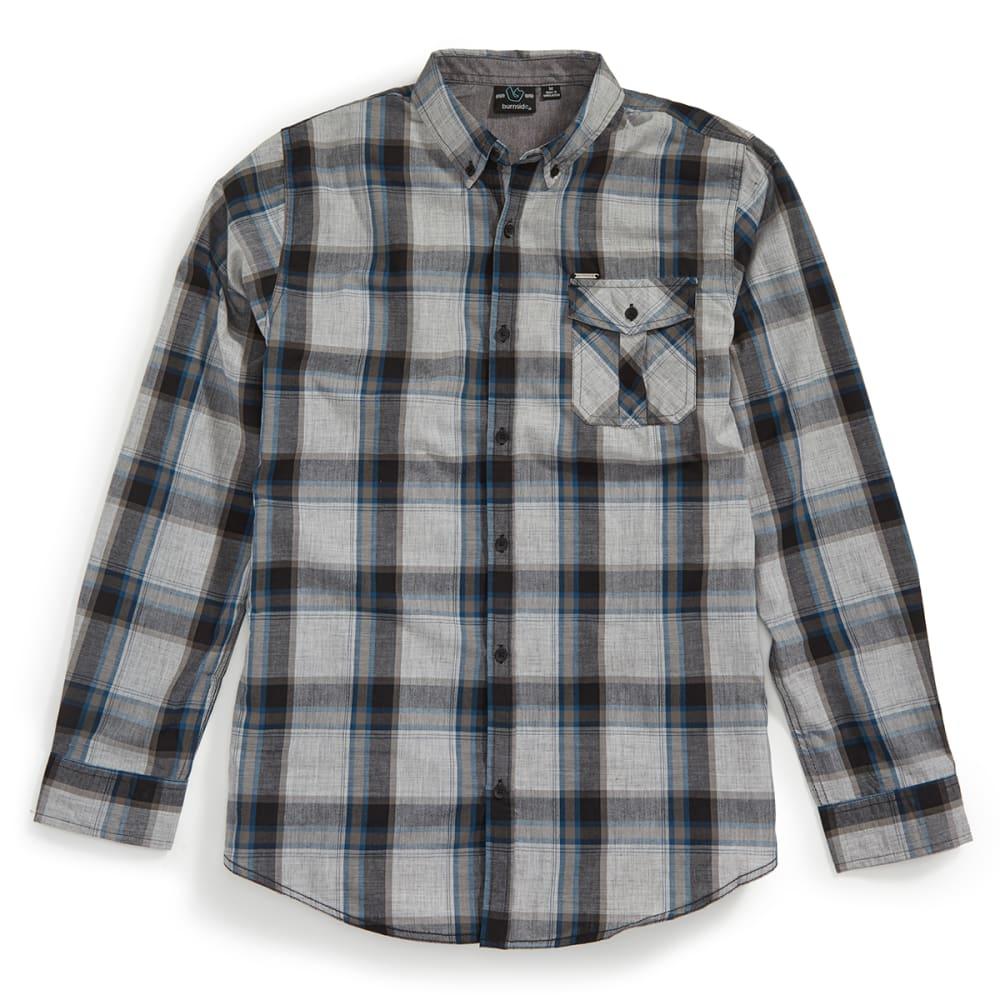 BURNSIDE Men's Robert Long Sleeve Woven Shirt - CHARCOAL