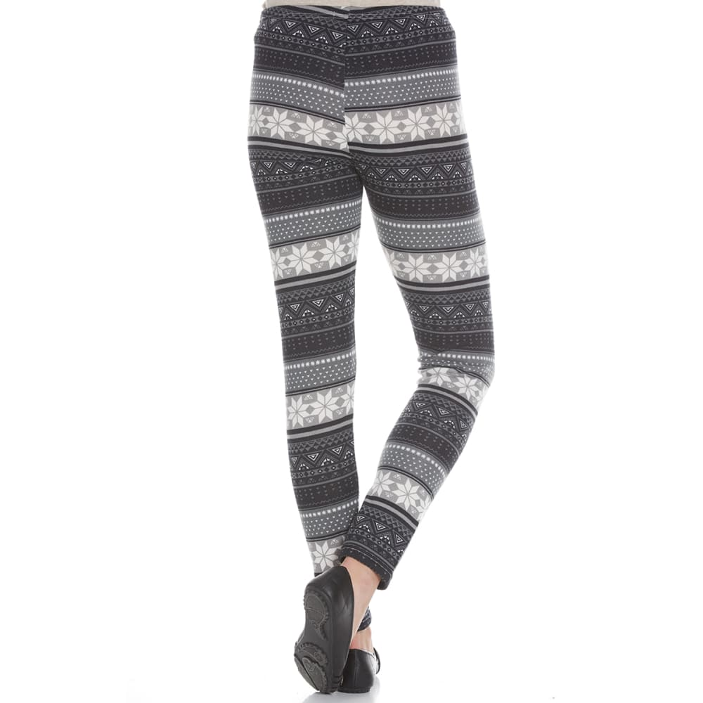 POOF Juniors' Hacci Geo Snowflake Print Fleece-Lined Leggings - BLACK COMBO