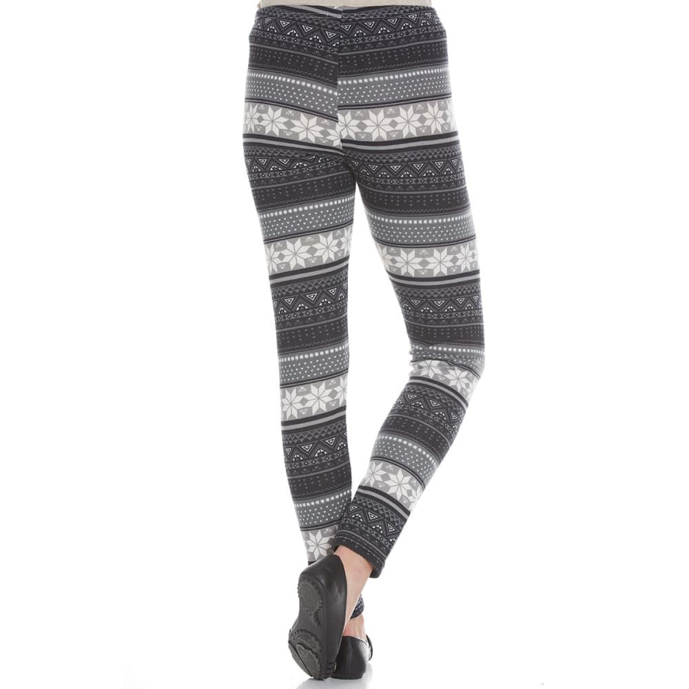 POOF Juniors' Hacci Geo Snowflake Print Fleece-Lined Leggings - BLACK COMBO