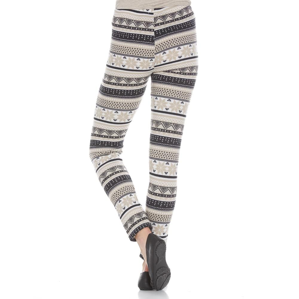 POOF Juniors' Hacci Geo Snowflake Print Fleece-Lined Leggings - OXFORD TAN COMBO