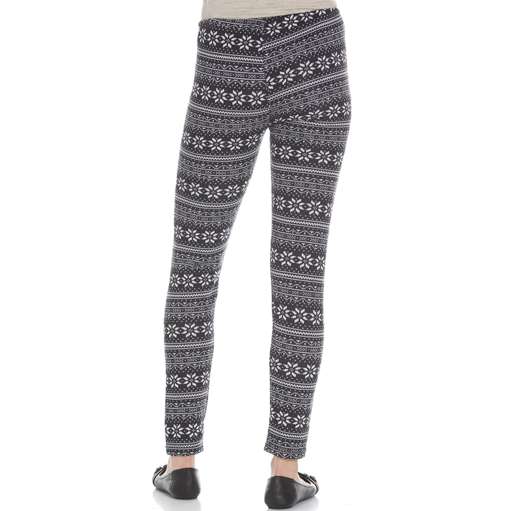 POOF Juniors' Printed Hacci Fair Isle Fleece-Lined Leggings - BLACK COMBO