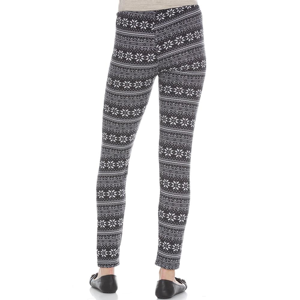 POOF Juniors' Printed Hacci Fair Isle Fleece-Lined Leggings - BLACK COMBO