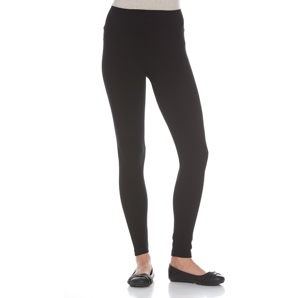 POOF Juniors' Waffle Textured Leggings - BLACK