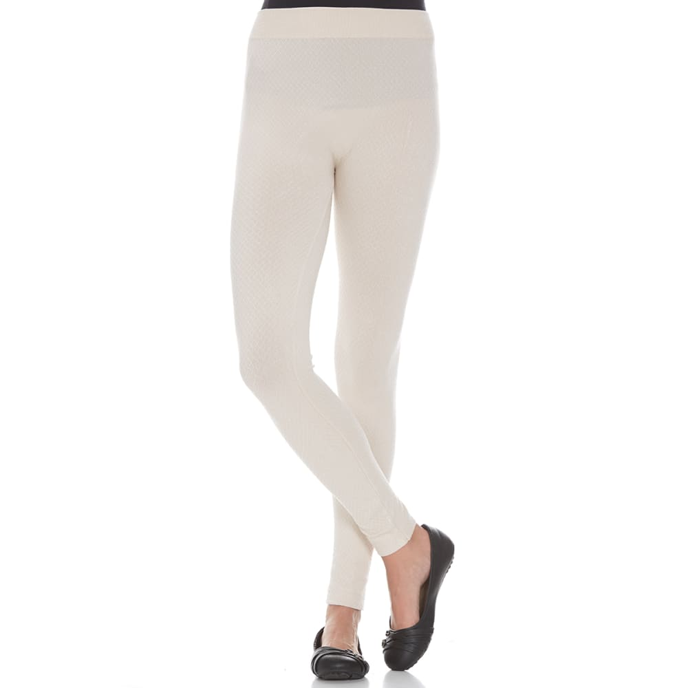 POOF Juniors' Waffle Textured Leggings - VANILLA CREME