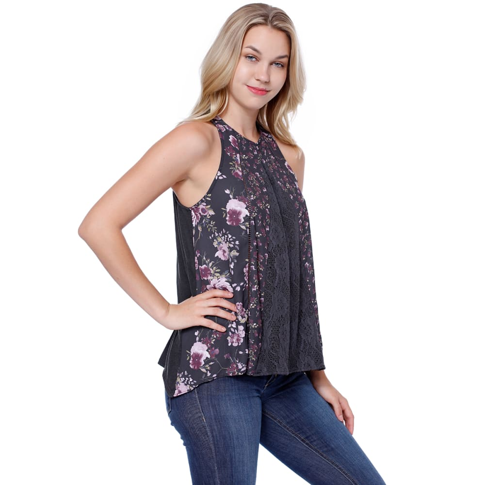 TAYLOR & SAGE Juniors' Printed High Neck Tank - NSK-NIGHT SKY NAVY