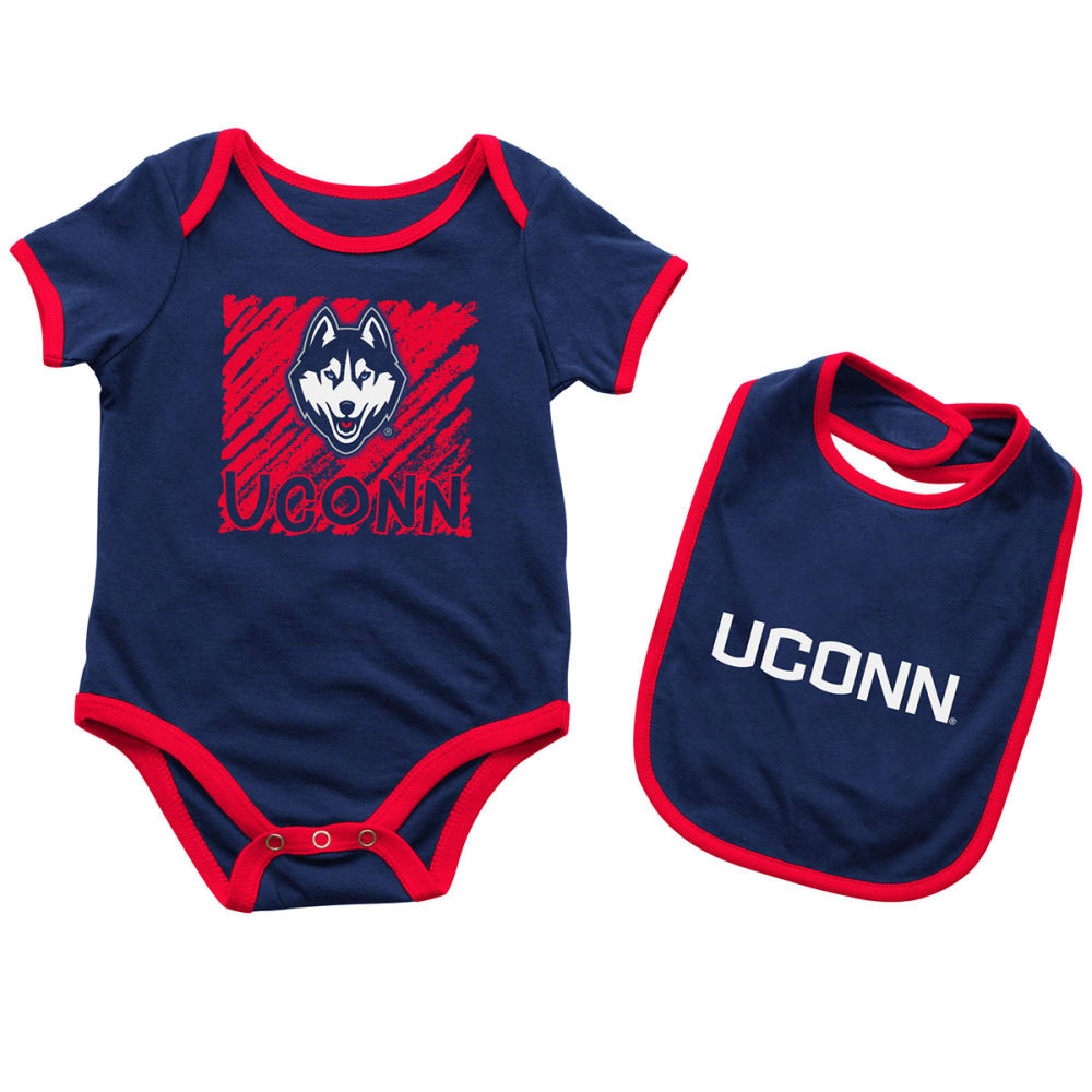 Uconn Infant Boys Look At The Baby Onesie And Bib Set - Blue, 3-6M
