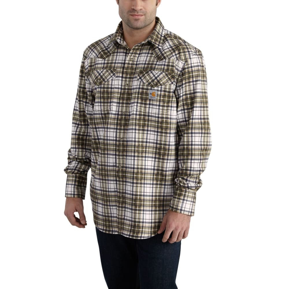 CARHARTT Flame-Resistant Snap-Front Plaid Shirt - MOSS