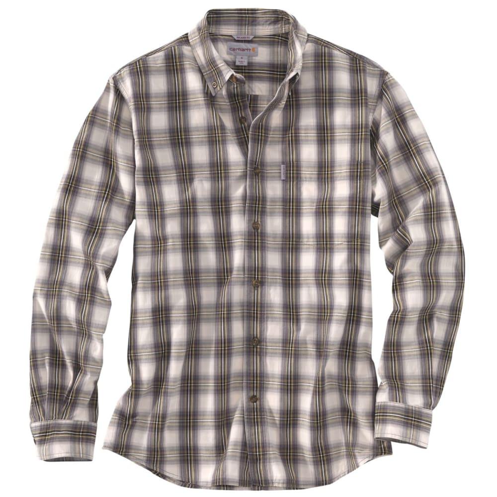 CARHARTT Men's Essential Plaid Button Down Long-Sleeve Shirt - CHARCOAL
