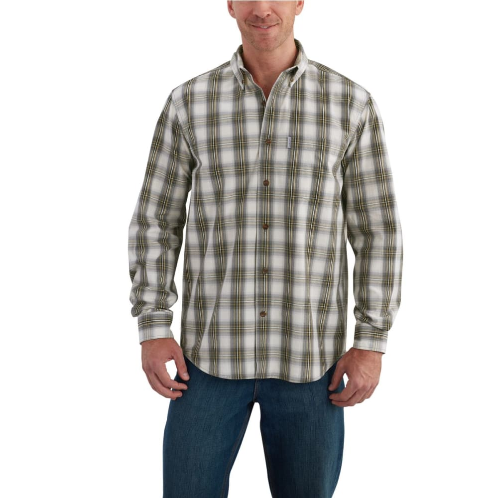 CARHARTT Men's Essential Plaid Button Down Long-Sleeve Shirt - CHARCOAL