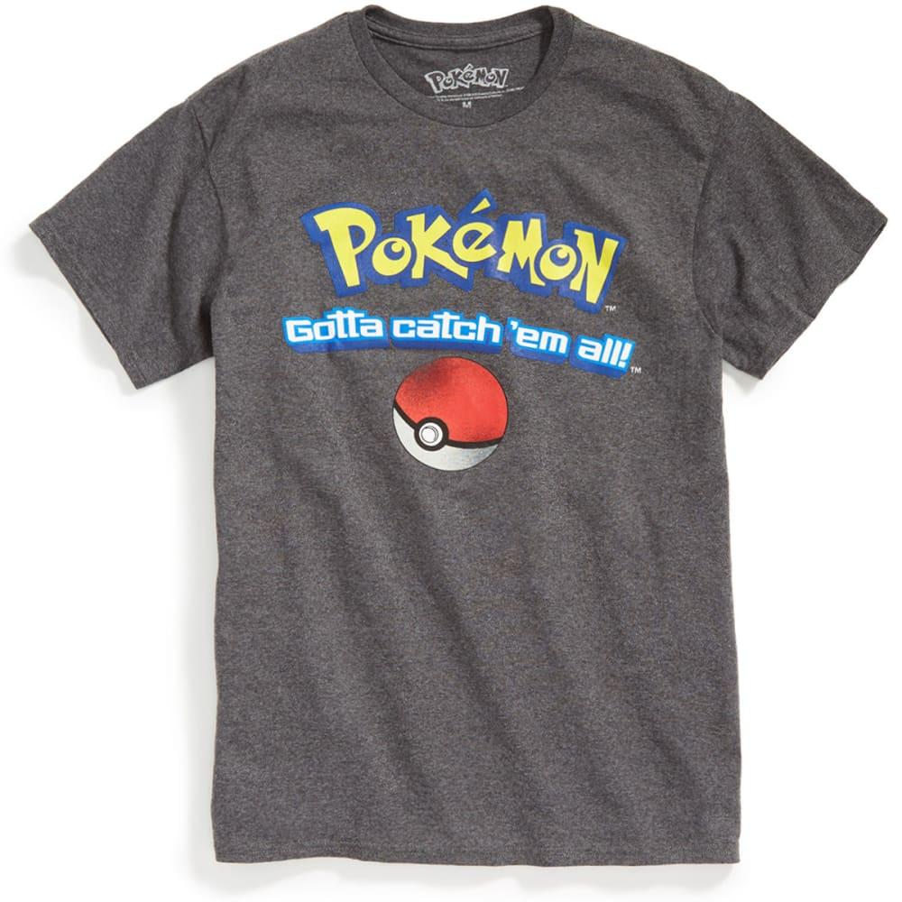 HYBRID Guys' Pokemon Catch 'Em All Short-Sleeve Tee - CHAR HEATHER