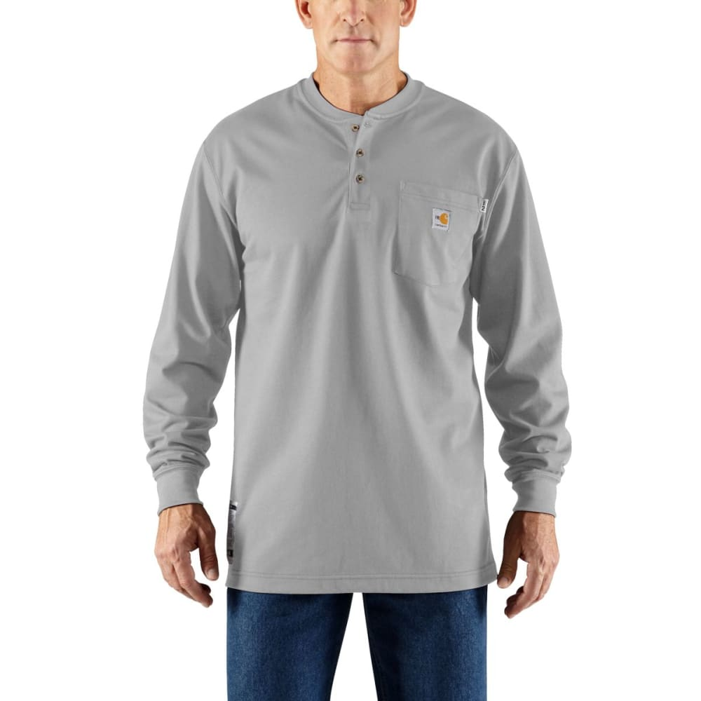 CARHARTT Flame-Resistant Long-Sleeve Henley, Extended Sizes - LIGHT GRAY
