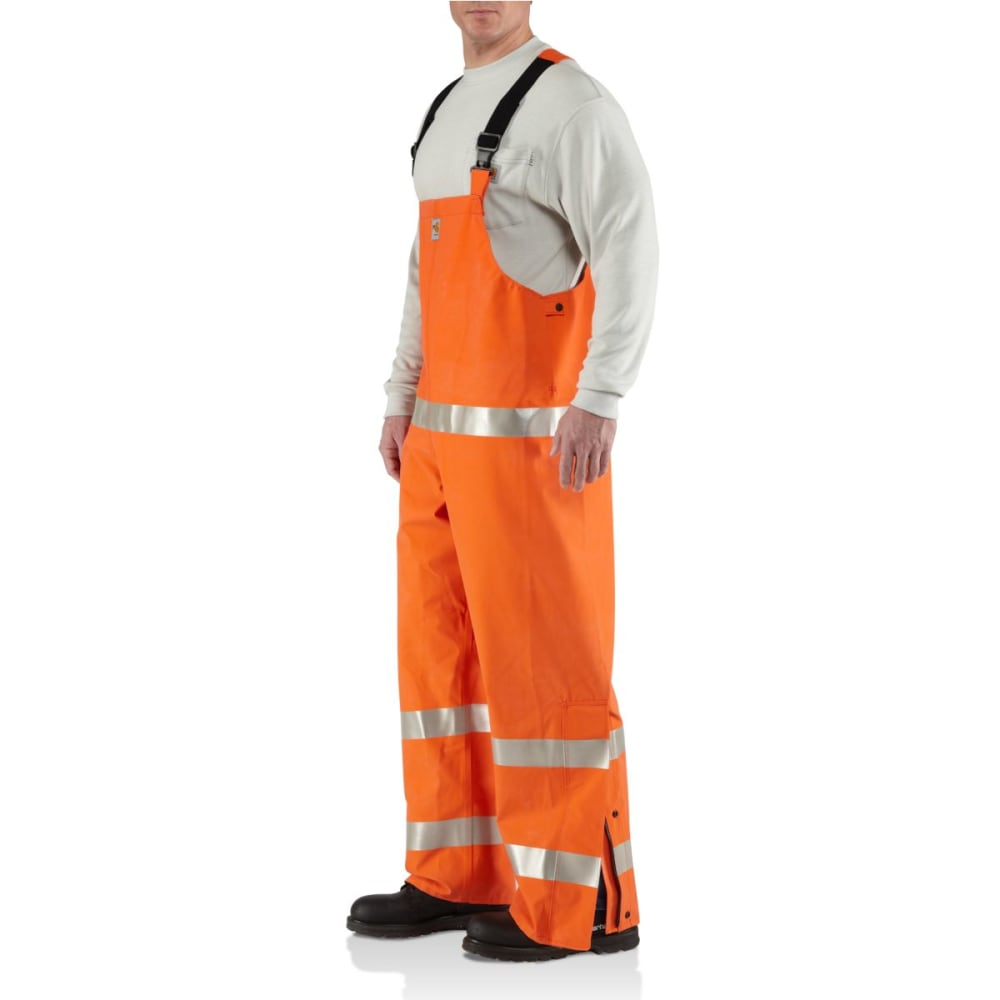 CARHARTT Flame-Resistant Rainwear Bib Overall, Extended Sizes - BOLD ORANGE