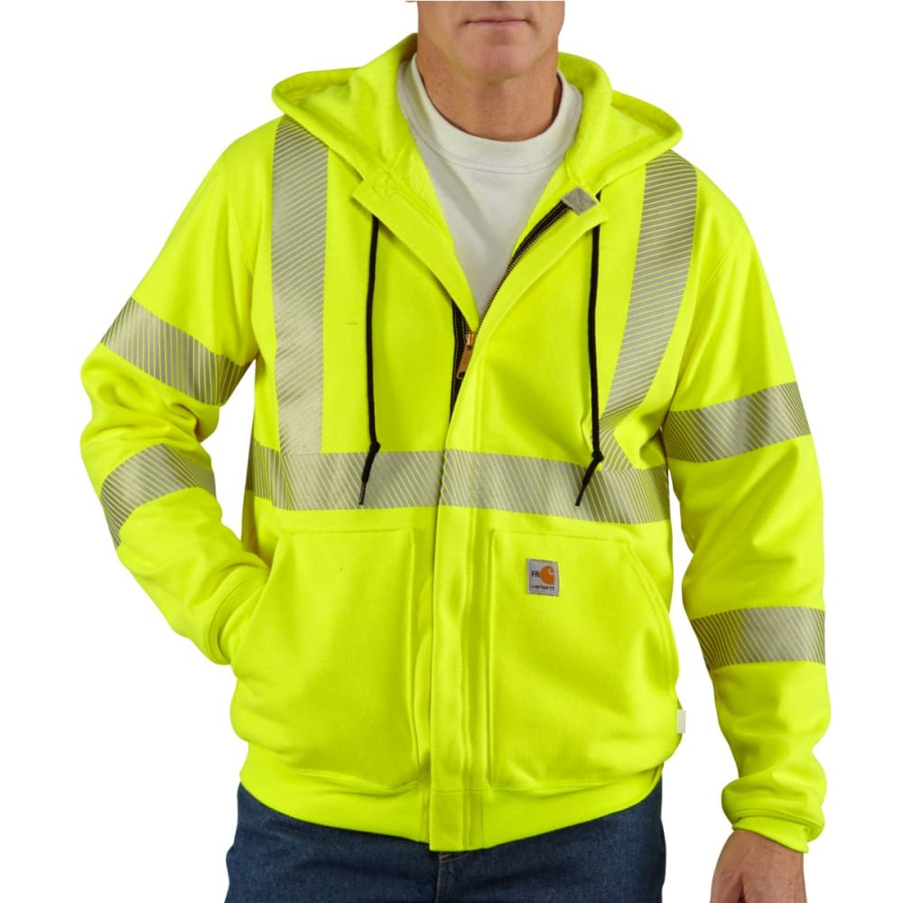 CARHARTT Flame-Resistant Heavyweight High-Visibilty Class 3 Hooded Zip-Front Sweatshirt, Extended Sizes - BRITE LIME