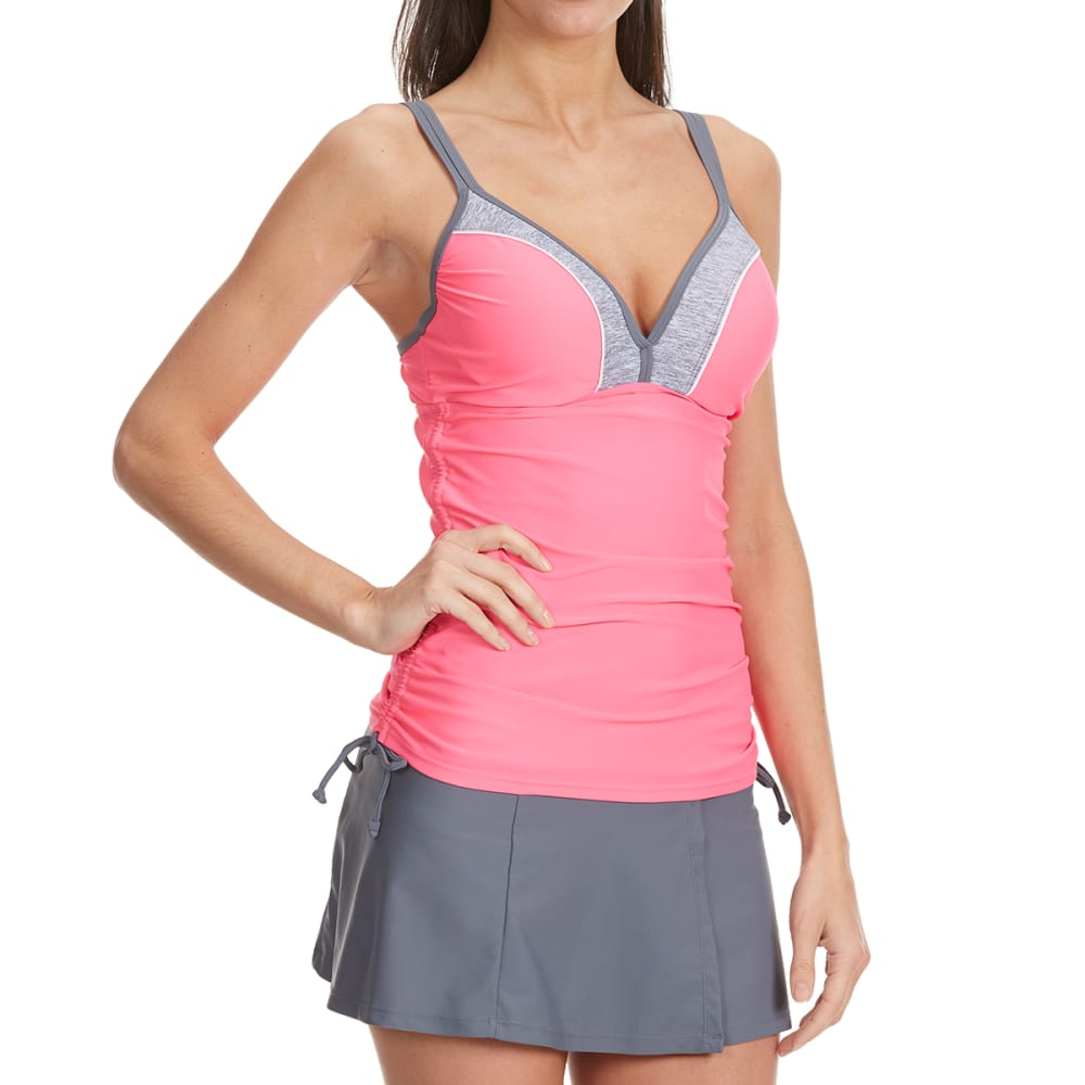 FREE COUNTRY Women's Color Block Side Tie Tankini Top - WATERMELON/CLOUD