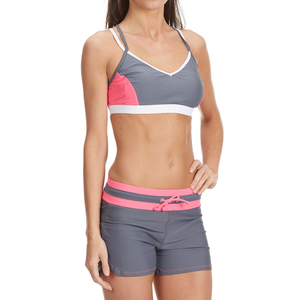 FREE COUNTRY Women's Color Block Strappy Back Swim Top - WATERMELON/CLOUD