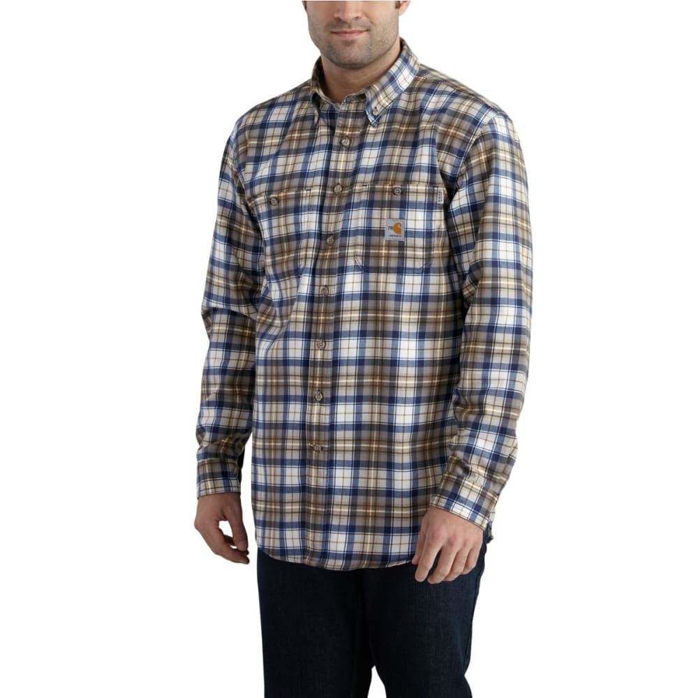 CARHARTT Flame-Resistant Classic Plaid Shirt, Extended Sizes - MID BROWN/NAVY