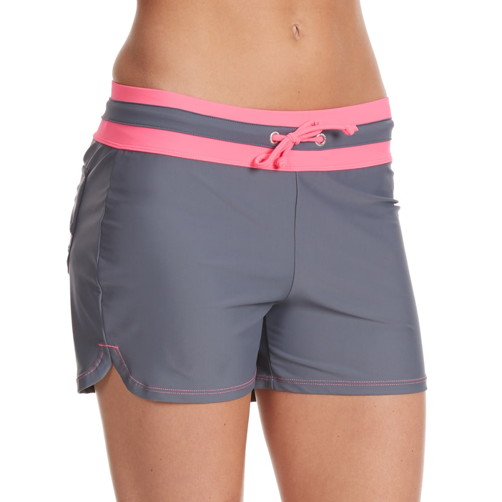 FREE COUNTRY Women's Sport Swim Shorts - WATERMELON/CLOUD