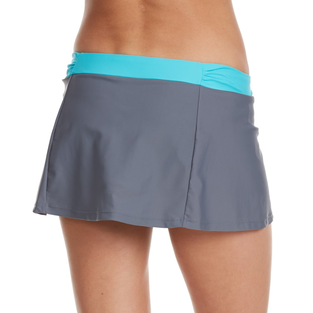 FREE COUNTRY Women's Shirred Waistband Swim Skirt - TROPICAL TURQ/CLOUD
