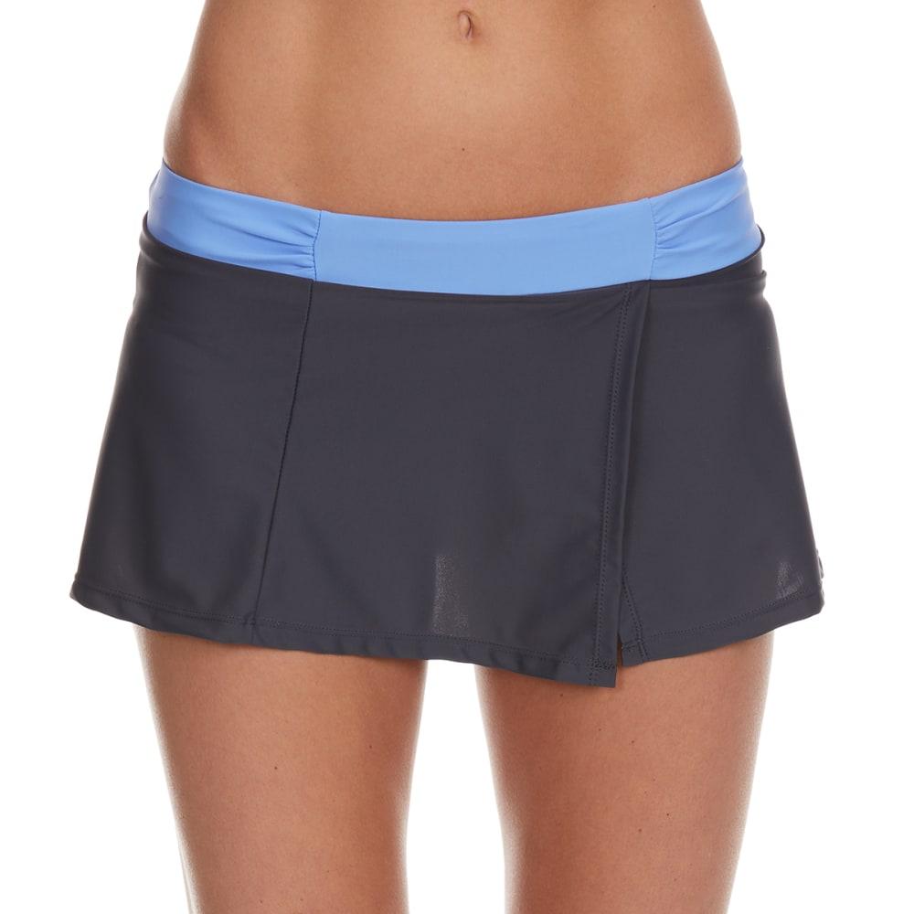 FREE COUNTRY Women's Shirred Waistband Swim Skirt - SEAMIST/STEEL
