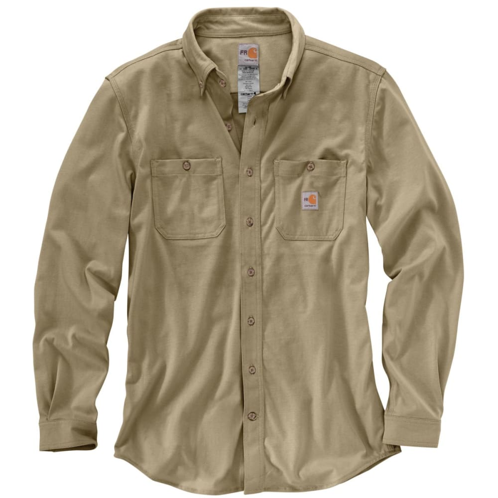 CARHARTT Force Cotton Hybrid Shirt, Extended Sizes - KHAKI