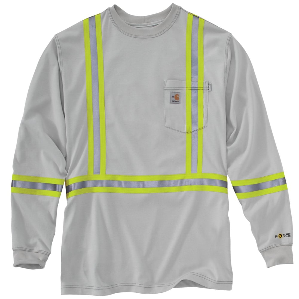 CARHARTT Striped Force Cotton Long-Sleeve T Shirt, Extended Sizes - LIGHT GRAY