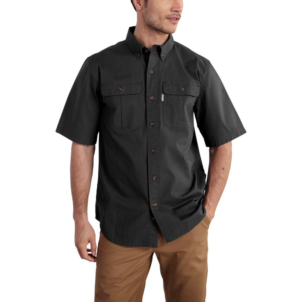 CARHARTT Foreman Solid Short-Sleeve Work Shirt, Extended Sizes - BLACK