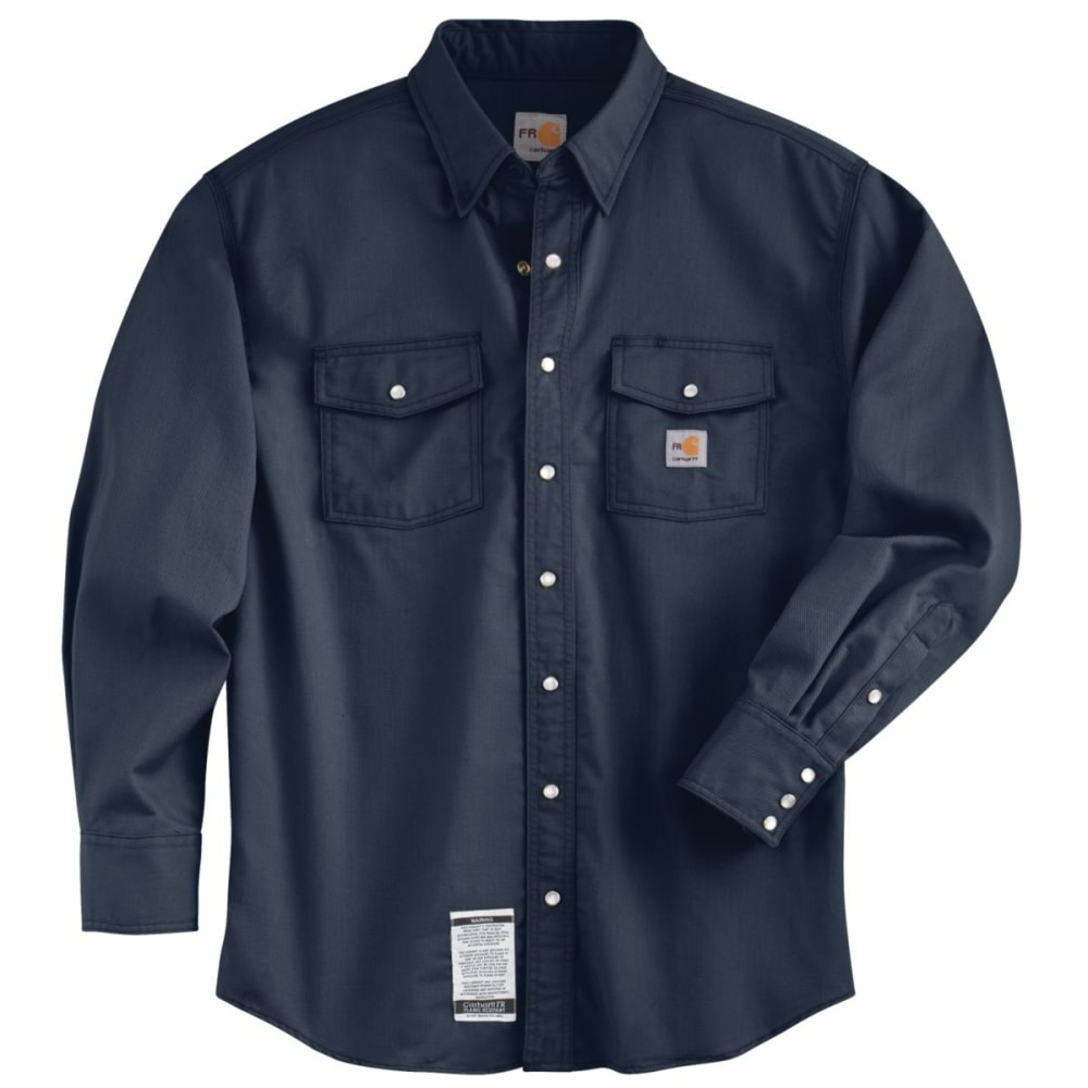 CARHARTT Flame-Resistant Snap-Front Shirt, Extended Sizes - DARK NAVY