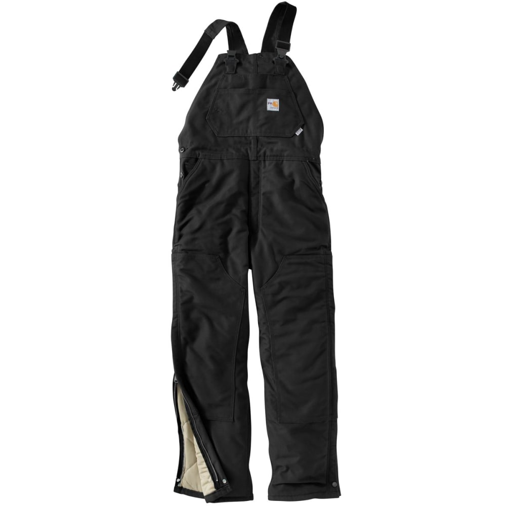 CARHARTT Duck Bib Lined Overall, Extended Sizes - BLACK