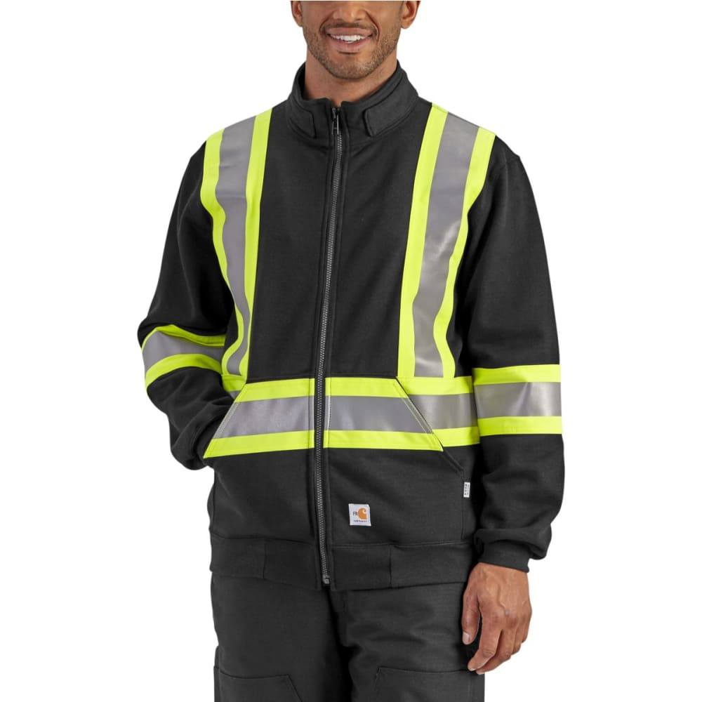 CARHARTT Men's Flame-Resistant Striped Klondike Sweatshirt, Extended Sizes - BLACK