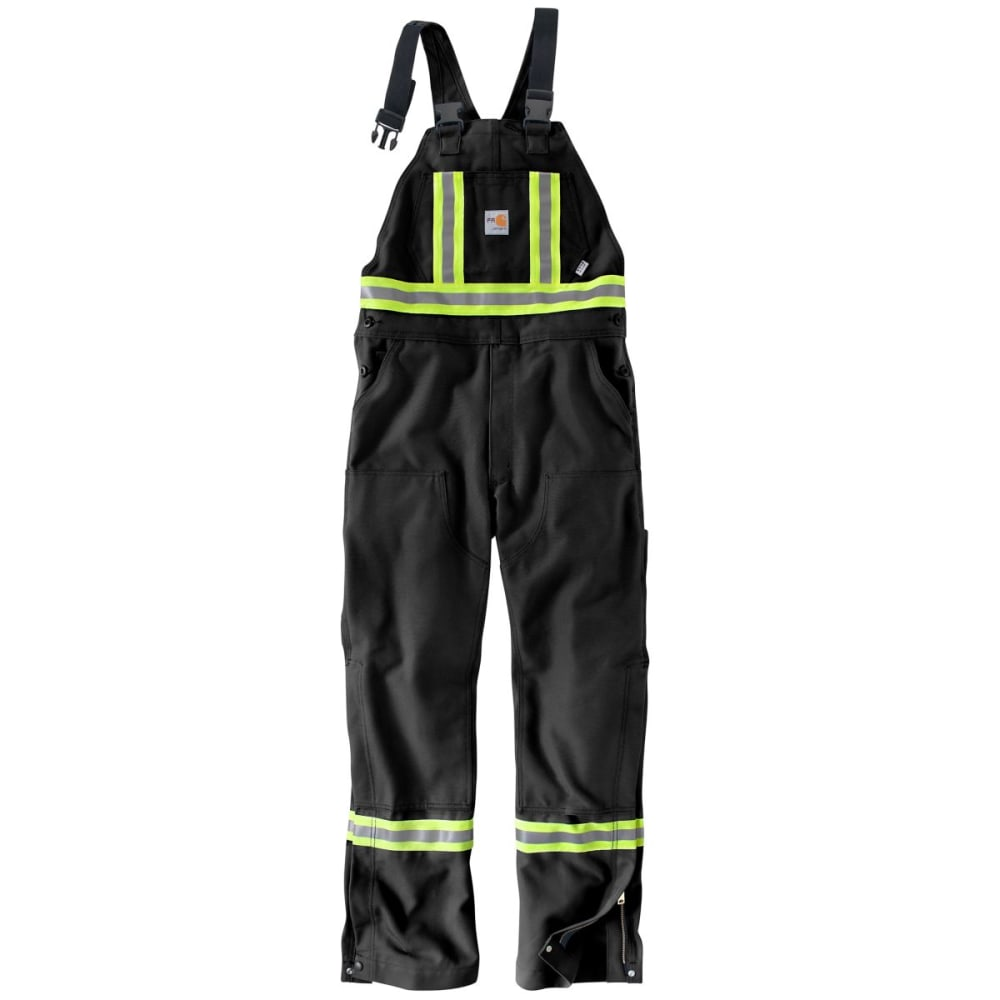CARHARTT Striped Duck Bib Overall, Extended Size - BLACK