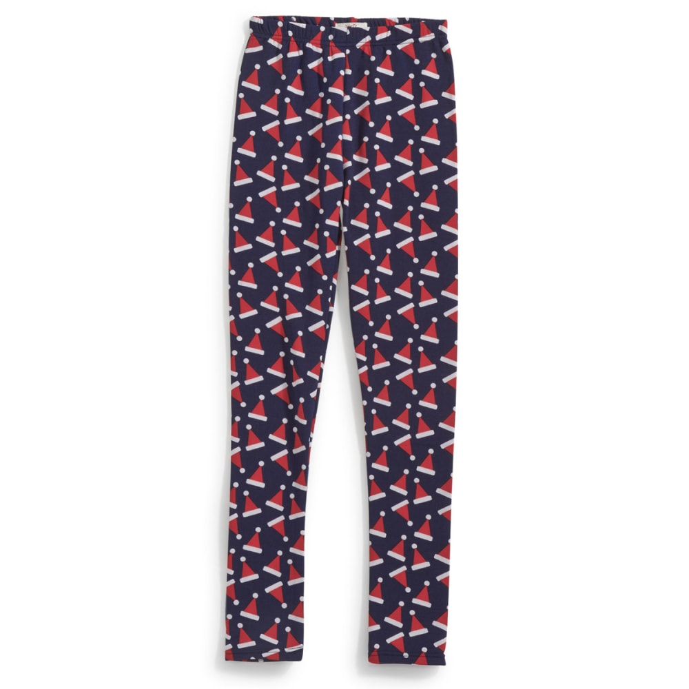 POOF Juniors' Santa Hat Leggings - NEW NAVY/ROCKIN RED