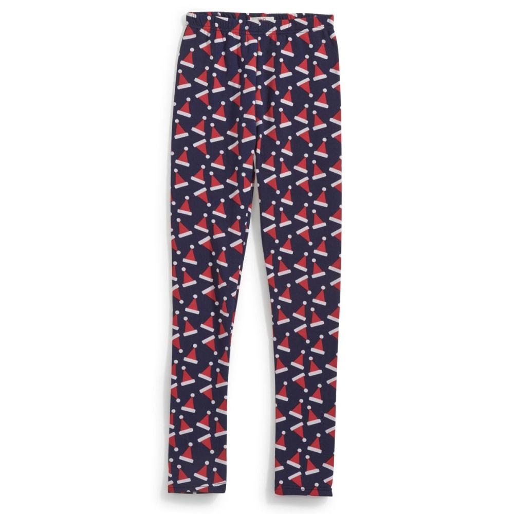 POOF Juniors' Santa Hat Leggings - NEW NAVY/ROCKIN RED