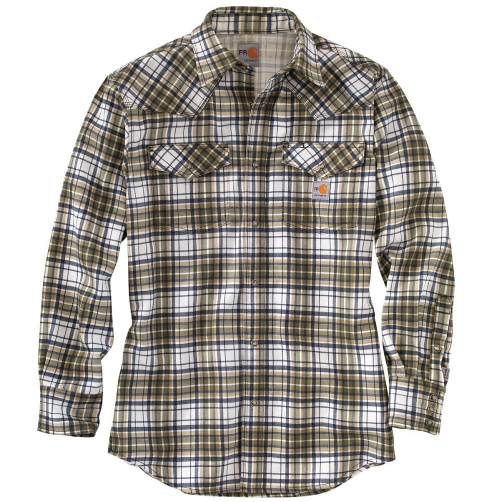 CARHARTT Flame-Resistant Snap-Front Plaid Shirt, Extended Sizes - MOSS